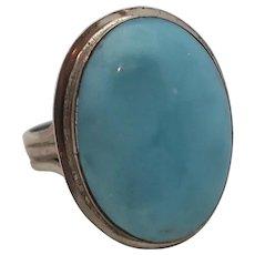 Vintage Large Sterling Silver Blue Stone Larimar Ring Size 8.5