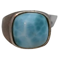 Vintage Large Sterling Silver Baby Blue Stone Larimar Ring Size 10