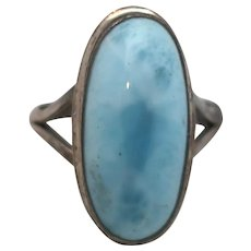Vintage Elongated Sterling Silver Blue Stone Larimar Ring Size 8.5
