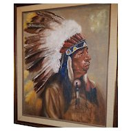 June Cade 1969 Oil on Board Painting of American Indian