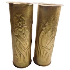 Art Nouveau Brass vase - pair hand made