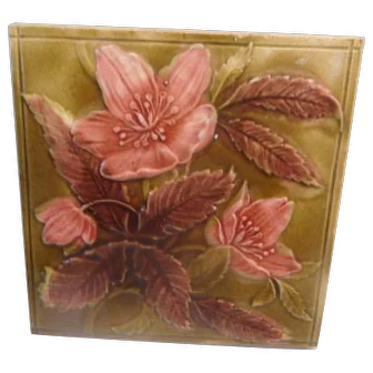 Antique Victorian Floral TIle