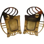 Arts & Crafts Photo Frames - Pair in Brass Hand Made UNUSUAL