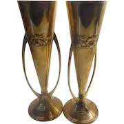 WMF Brass Vases - Pair with Ostrich Mark