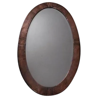 Arts & Crafts Oval Copper mirror