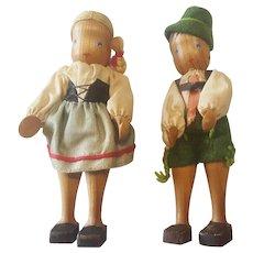 "Vintage 1940's Wood Wooden 4"" Swiss Boy & Girl Doll Pair"
