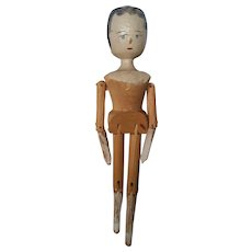 "Nice Vintage 11 3/4"" Grodnertal Wood Peg Doll"