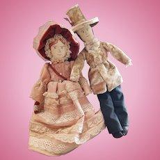 One of A Kind Vlasta Pat Thompson Cloth Doll Pair