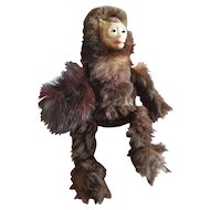 """Vintage 8"""" Fur Covered Monkey With Paper Mache Face"""