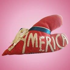 Vintage Folk Art Crazy Quilt America Heart Shaped Pillow