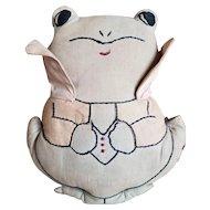 Adorable Vintahe Golf Art Cloth Embroidered Frog