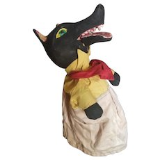 Vintage WPA Paper Mache Big Bad Wolf Puppet Doll