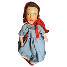 Vintage 1930's WPA Paper Mache Little Red Riding Hood Puppet Doll
