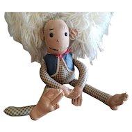 Wonderful Vintage Oilcloth Monkey Doll with Shoebutton Eyes