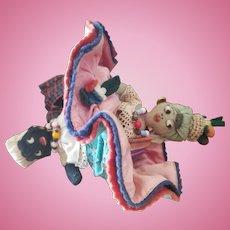 Adorable Vintage Topsy Turvy Cloth Doll