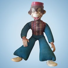 Adorable 1940' Googly Eye Bellhop Monkey Doll