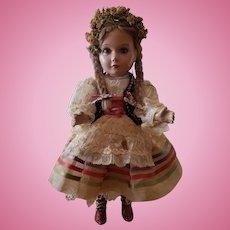 "1930's Wonderful Composition 15"" Ethnic Girl Doll"