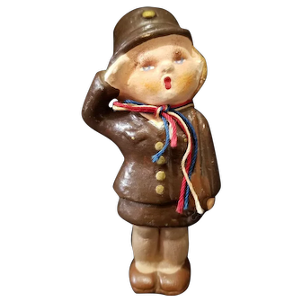 Adorable 1940's  WAAC or WAVE Figurine Doll