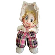 Vintage Googly Eye Whimsical Bunny Cloth Doll
