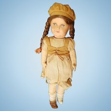 Vintage 1940's Paper Mache & Cloth Doll