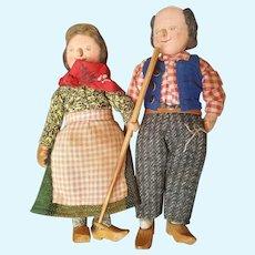 Vintage Cloth Old Farmer Couple Cute!