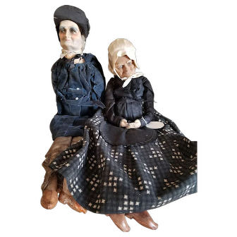 Vintage Early 1900's French Peasant Bed Dolls