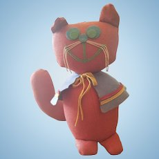 Vintage English Felt Boo Boo Kitty Doll