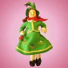 Vintage Felt Italian Cloth Doll Wonderful Costume