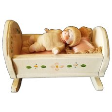Vintage All Bisque Baby Doll House Doll with Crib