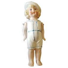 Vintage Hertwig All Bisque Bathing Beauty Doll with Cap