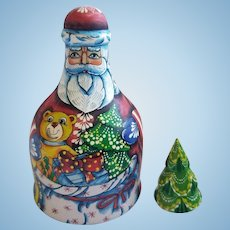 Exquisite Hand Painted Artist Russian Nesting Doll Santa Clause & Christmas Tree