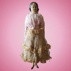 "Antique 1800's 13"" Paper Mache Milliner's Model Doll"
