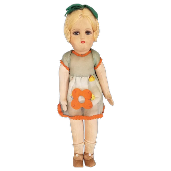 "Wonderful 19""  Italian Felt Doll with Glass Eyes!"