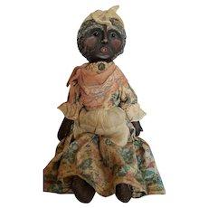 Vintage Artist Black Mammy Cloth Folk Art Doll