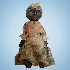 Vintage Artist Black Mammy Cloth Folk Art Doll