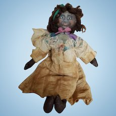 Vintage Primitive Painted Cloth Folk Art Doll 19""