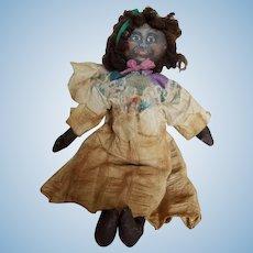 "Vintage Primitive Painted Cloth Folk Art Doll 19"""