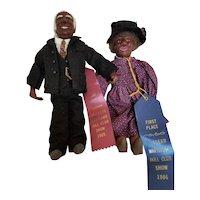 Vintage 1983 Artist Wax Doll Couple Pair