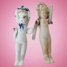 Miniature All Bisque Frozen Charlotte Doll Twins