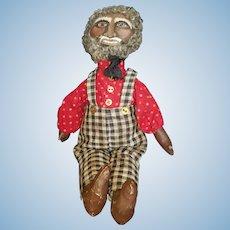 "Vintage Primitive Painted Cloth Folk Art Doll 18"""