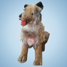 1950's Steiff Sitting Collie Dog with Chest Tag