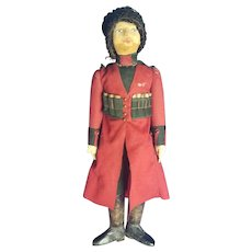 Vintage Early 1900's Felt Solder Military Doll with Glass Eyes