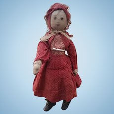 WOW! Antique Primitive Cloth Doll with Painted Face & Incised Shoes