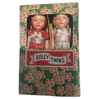 Vintage Japan Composition Dolly Twins Mint in Box