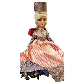 """Wonderful Composition 26"""" Patriotic Betsy Ross Bed Doll"""