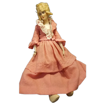 """Vintage 17"""" Wax Over Composition Bed Doll"""
