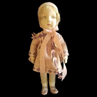 """Wonderful 1930's Vintage Italian Felt Studio Doll 20"""""""