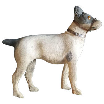 Vintage Paper Mache Dog With Glass Eyes