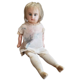 Vintage Wax Over Paper Mache Doll Glass Eyes