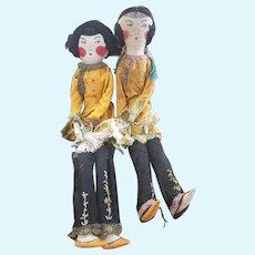 Wonderful Vintage Cloth Sister Pair Bed Doll Set